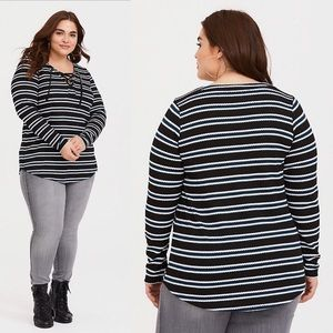 Torrid | Sweater Shirt Striped Henley Lace Up